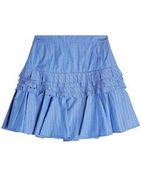 Maggie Marilyn - Striped Cotton Mini Skirt With Ruffles - Lyst