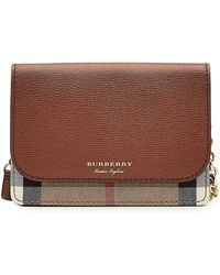 Burberry | Hampshire Mini Shoulder Bag With Leather And Checked Fabric | Lyst