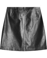 HUGO - Lenifa Leather Skirt - Lyst