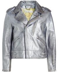 Golden Goose Deluxe Brand - Metallic Leather Biker Jacket - Lyst