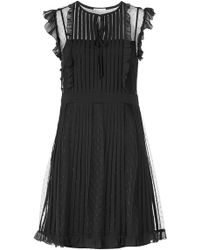 RED Valentino - Chiffon Dress With Point D'esprit - Lyst