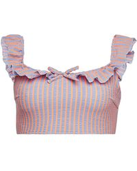 Solid & Striped - The Paloma Striped Bikini Top With Ruffles - Lyst