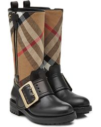 Burberry - Boots With Check Printed Fabric - Lyst