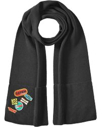 DSquared² - Wool Scarf With Patches - Lyst