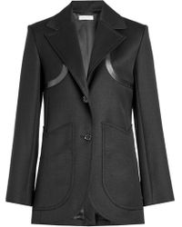 Nina Ricci - Wool Blazer With Leather Trims - Lyst