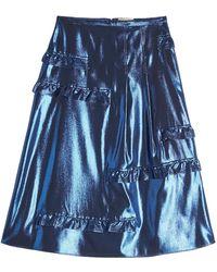 Burberry - Silk Metallic Skirt - Lyst
