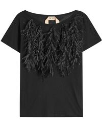 N°21 - Cotton T-shirt With Ostrich Feathers - Lyst