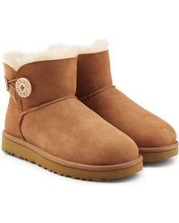 Ugg | Shearling Lined Suede Boots With Button | Lyst