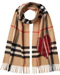Burberry | Checked Cashmere Scarf With Heart Embellishment | Lyst