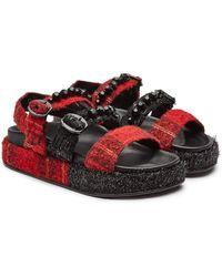 Simone Rocha - Tartan Leather Sandals With Crystal Embellishment - Lyst
