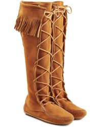 Minnetonka - Fringed Suede Knee Boots With Lace-up Front - Lyst