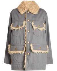 Marc Jacobs - Oversized Cotton Jacket With Faux Fur Lining - Lyst