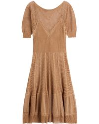 Alberta Ferretti - Knitted Linen-silk Dress - Lyst