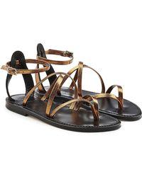 K. Jacques - Metallic Leather Sandals - Lyst