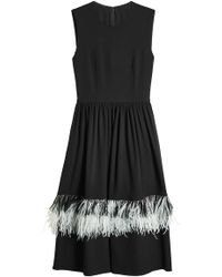Christopher Kane - Wool Dress With Ostrich Feathers - Lyst
