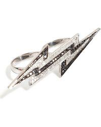 Lynn Ban - Sterling Silver Lightening Bolt Ring With Diamonds - Lyst