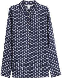 Diane von Furstenberg | Cotton-silk Printed Blouse - Blue | Lyst