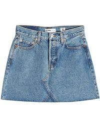 RE/DONE - High-waisted Denim Mini Skirt - Lyst