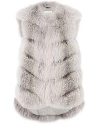 Manzoni 24 - Fox Fur Vest With Cashmere Lining - Grey - Lyst