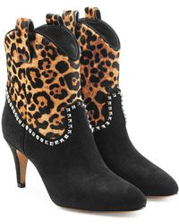 Marc Jacobs - Embellished Suede Ankle Boots With Printed Pony Hair - Lyst