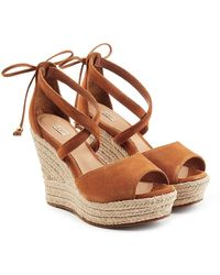 UGG - Suede Wedge Sandals - Lyst