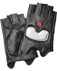Karl Lagerfeld - Fingerless Leather Gloves - Black - Lyst