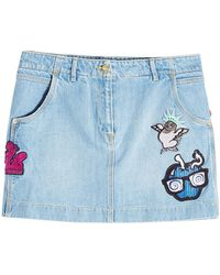 KENZO - Denim Mini Skirt With Patches - Lyst