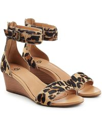 UGG - Printed Pony Hair Wedge Sandals - Lyst
