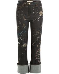 Valentino - Embroidered And Embellished Cropped Jeans - Lyst
