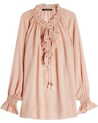 Roberto Cavalli - Silk Blouse With Ruffles And Tassels - Lyst