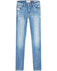 FRAME - Slim Straight Leg Jeans With Distressed Detail - Lyst