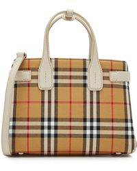 Burberry - Small Banner Printed Tote With Leather - Lyst