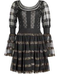 Alexander McQueen - Silk Mini Dress With Metallic Thread - Lyst