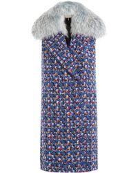Emilio Pucci - Virgin Wool Sleeveless Coat With Fur Collar - Lyst