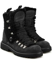 Moncler - Berenice Suede Ankle Boots With Shearling - Lyst