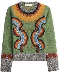 Valentino - Embroidered Wool Blend Pullover - Lyst