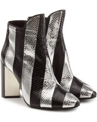 Pierre Hardy - Leather Ankle Boots With Snakeskin - Lyst