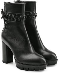 Karl Lagerfeld | Leather Ankle Boots With Gripped Platform | Lyst