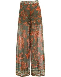 Valentino - Printed Cotton Wide Leg Pants - Lyst