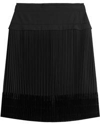 Carven | Pleated Skirt With Velvet | Lyst