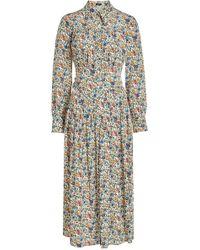 JOSEPH - Printed Silk Dress With Pleats - Lyst