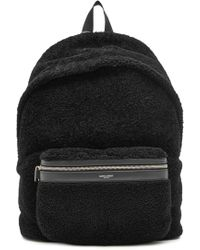 Saint Laurent - Leather And Shearling Backpack - Lyst