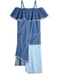 SJYP - Denim Dress With Asymmetric Hemline - Lyst