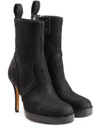 Rick Owens - Suede Platform Ankle Boots - Lyst