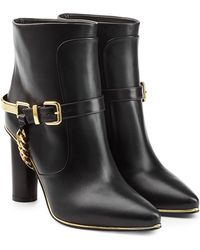 Balmain - Leather Ankle Boots With Chain Embellishment - Lyst