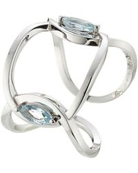 Delfina Delettrez - 18kt White Gold Ring With Marquise Aquamarine - Lyst