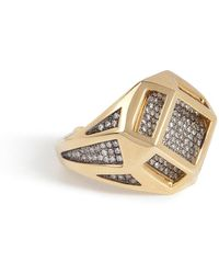Noor Fares - 18kt Gold Cube Cage Ring With Diamonds - Lyst
