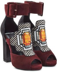 Pierre Hardy - Suede Sandals With Printed Applique - Lyst