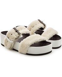 Rag & Bone - Evin Leather Sandals With Shearling - Lyst