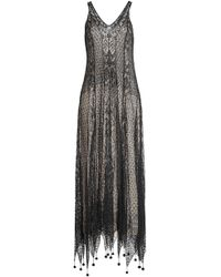 Alexander McQueen - Silk Lace Dress With Pom Poms - Lyst